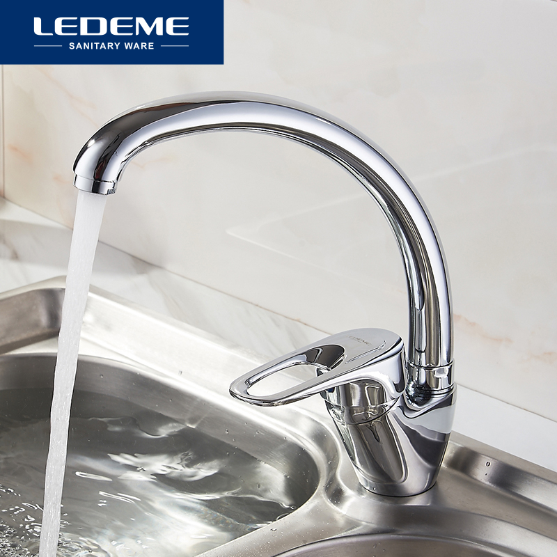 все цены на LEDEME Best Quality Chrome Finish Brass Water Power Kitchen Faucet Swivel Spout Vessel Sink Tap Single Handle One Hole L5904 онлайн