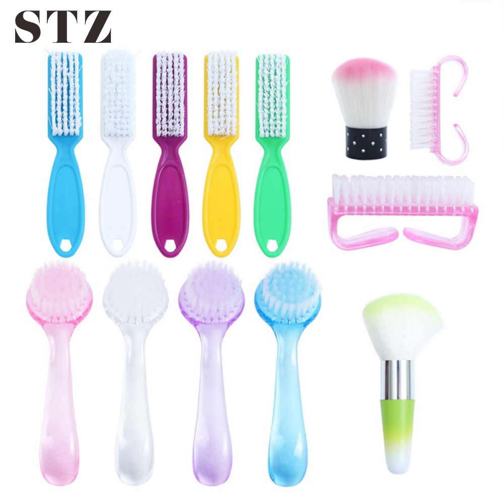 STZ 1pcs Nail Cleaning Brush Tools Soft Cleaner Dust File Nail Art Manicure Pedicure Handle Scrubbing Gel Polish Remover #095