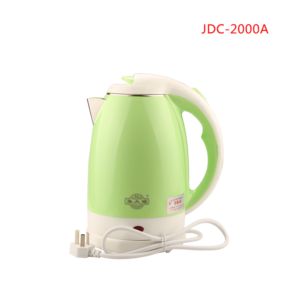 лучшая цена JDC-2000A 2L Stainless Steel Cordless Electric Water Kettle Quick Heat Water Heating Kettle green