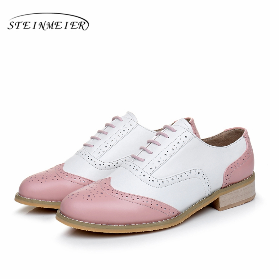 8c22796d921 Genuine leather big woman US size 11 designer vintage flat shoes handmade  white pink 2019 oxford shoes for women with fur
