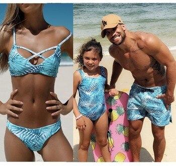 4c6f8d9dfd8f Traje de baño de la madre de la hija de la familia de la playa de arena  traje de baño de papá hijo pantalones cortos de baño de mamá y yo ropa  Bikini ...
