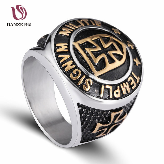 DANZE Stainless Steel The Crusaders Mens Signet Rings Silver Gold