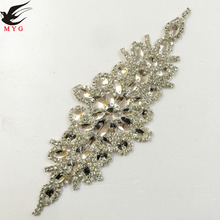 "Free Shipping 1pcs 9.5"" Rhinestone Applique for Wedding Gown Bridal Sash Evening Wear Rhinestone Patch Trimming"