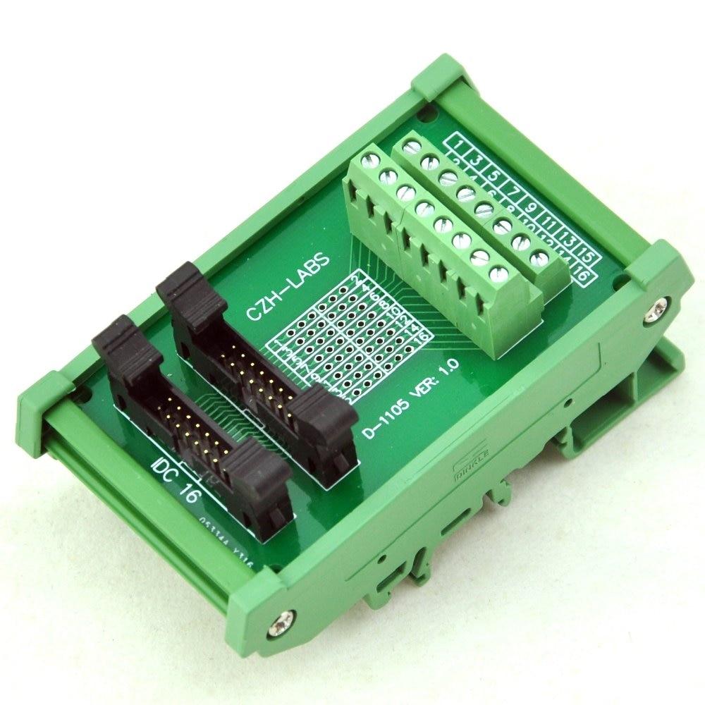 DIN Rail Mount IDC-16 2x8pins 2.0mm Dual Male Header Interface Module. idc 50 din rail mounted interface module
