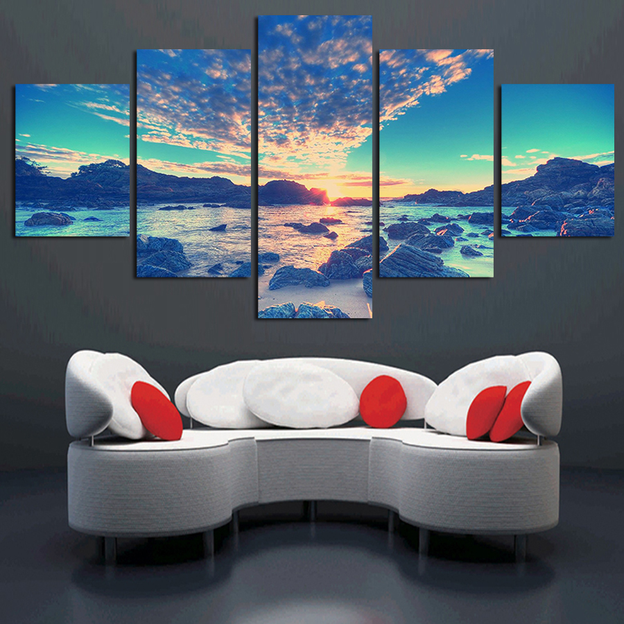 2017 Real Direct Selling 5 Panel Modern Wall Art Home Decoration Canvas Painting Prints Sea Beach Sailing Pictures Unframed