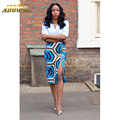 Adogirl 2017 Summer Autumn Vintage Fashion Printed Pencil Skirt Midi Women Knee-Length Elastic High Waist Ladies Pattern Skirts
