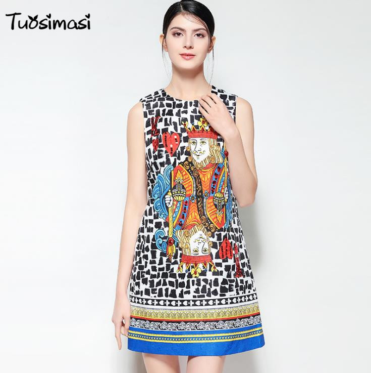 2018 summer Playing cards print sleeveles beading party women tank mini Runways dresses( DG024)