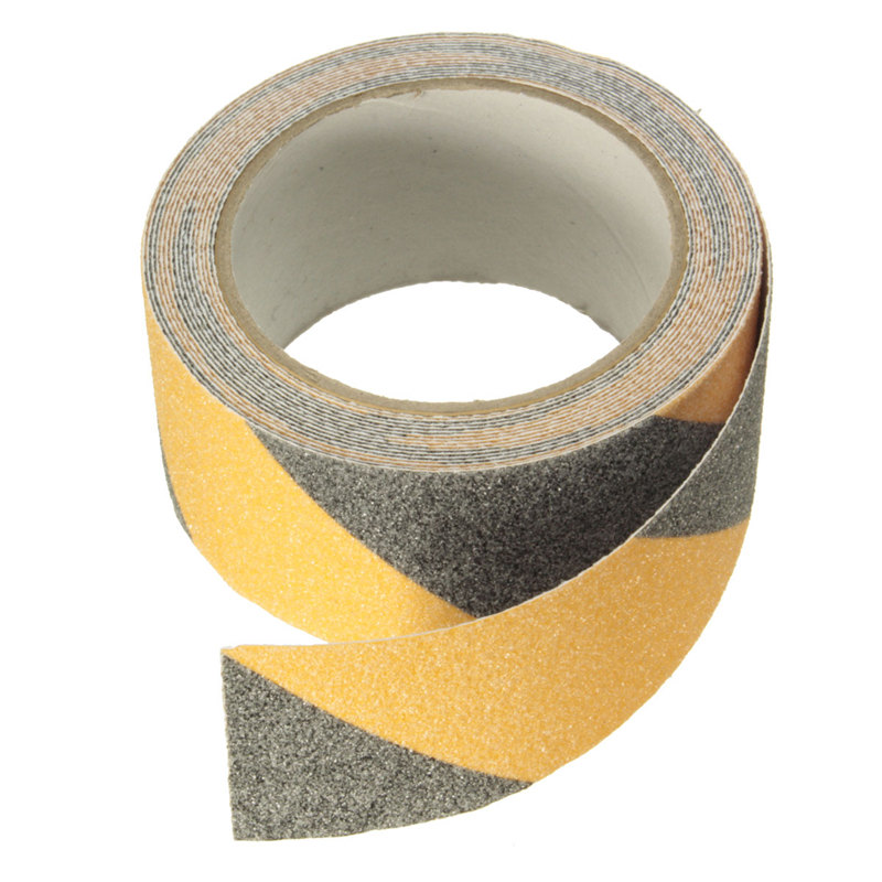 NEW Yellow + Black 5m x 5cm Floor Safety Non Skid Tape Anti-slip Safe Self Adhesive Sticker High Grip ...