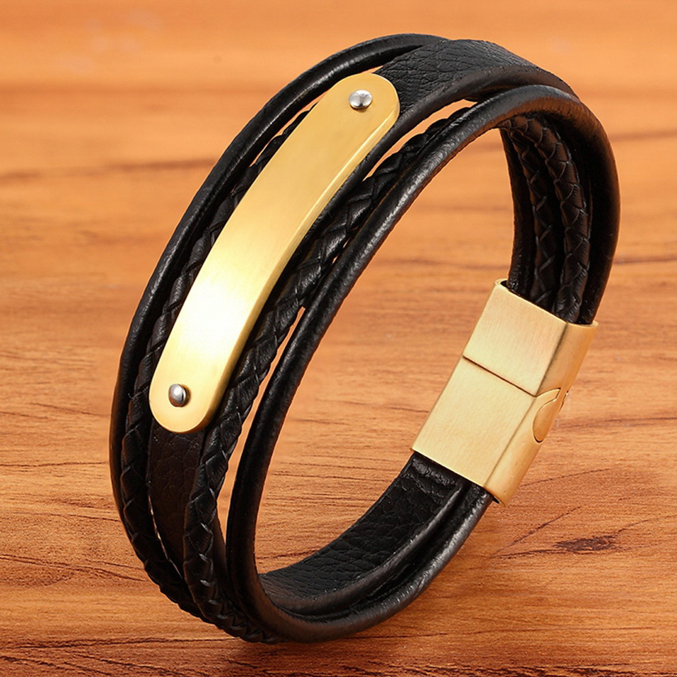 Luxury Curved Design Stainless Steel Accessories Magnetic Button Braid Multilayer Genuine Leather Bracelet for Men Punk Jewelry