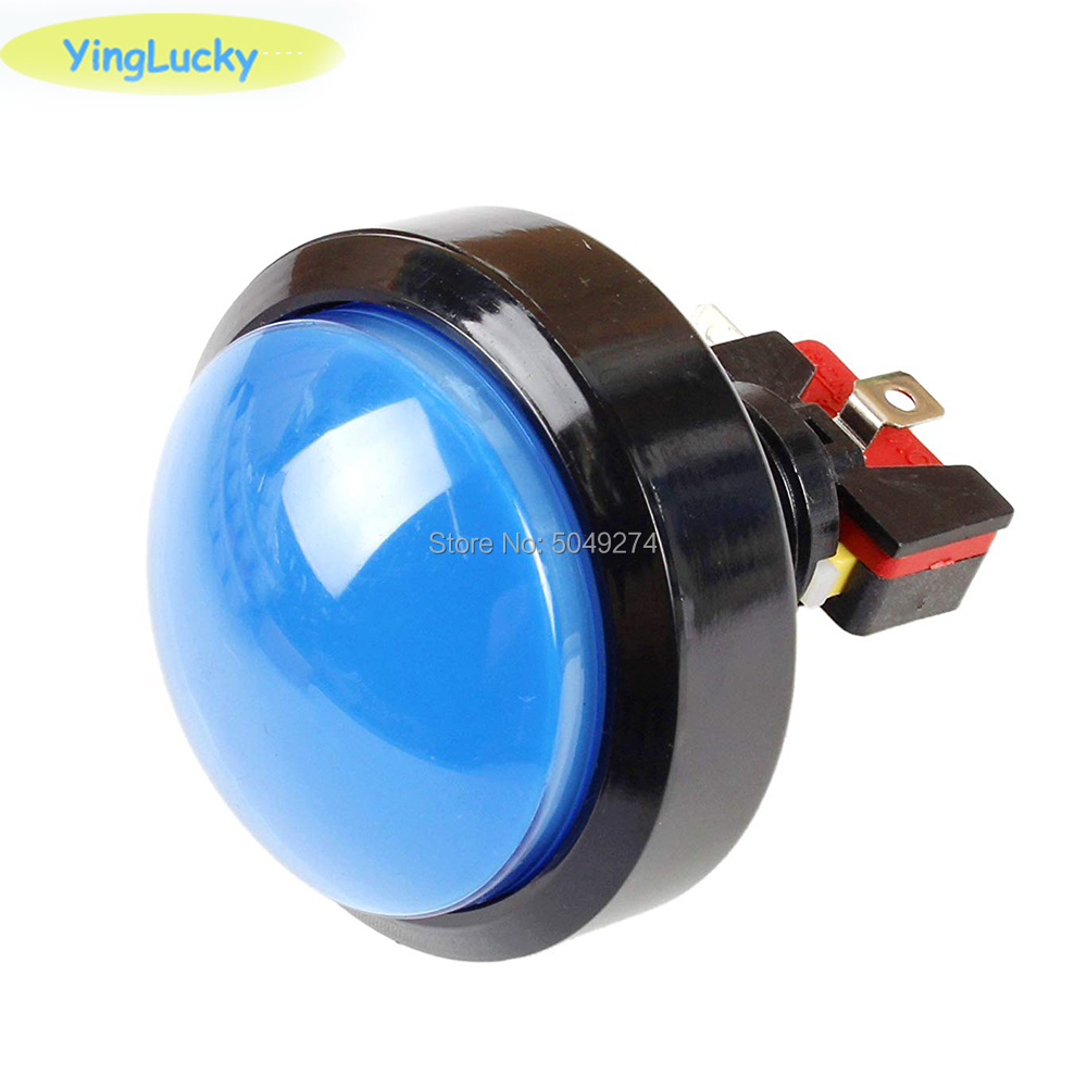60mm Big Round Arcade Push Button LED Illuminated With Microswitch For DIY Arcade Game Machine Parts 5/12V Large Dome Light Swit