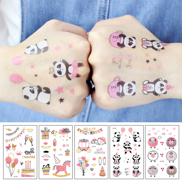 Rocooart Pink Tattoo Stickers For Girls Birthday Party Present Fake Tatuajes Panda Sheep Waterproof Temporary Tattoo Kids Taty
