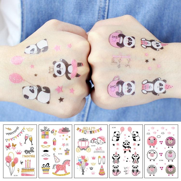 Rocooart Pink Tattoo Stickers For Girls Birthday Party Present Fake Tatuajes Panda Sheep Waterproof Temporary Tattoo Kids Taty