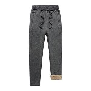 Image 4 - Mens Winter Plus Cashmere Velvet Thicken Pants Men Warm Trousers Mens Sweatpants Brand Clothing Male Elastic Waist Trousers 666