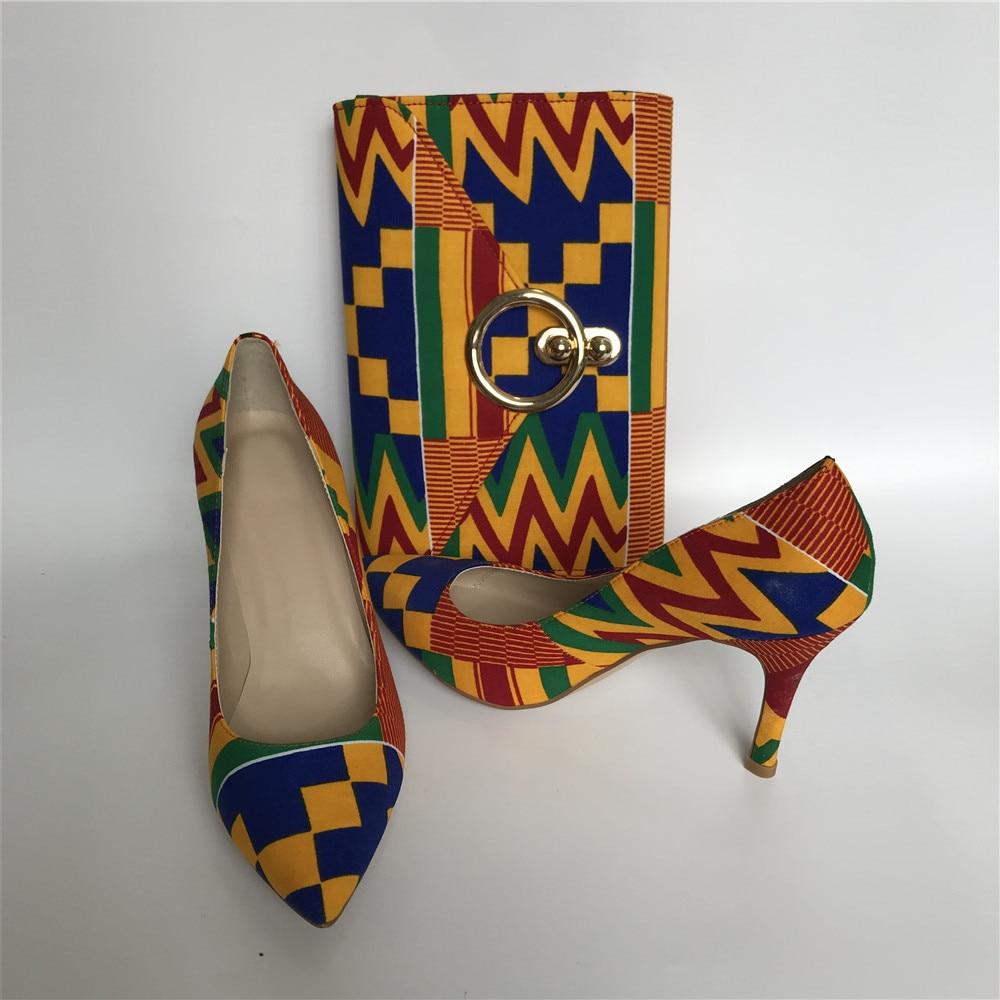African cotton wax material kente print wax fabric fashion women lady shoes with wax bag purse