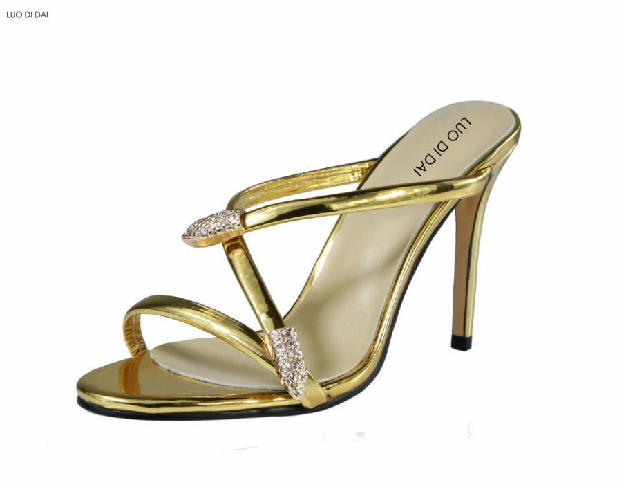 2018 women glitter party shoes snake sandals dress shoes diamond sandals open toe slide gold sandals thin heel