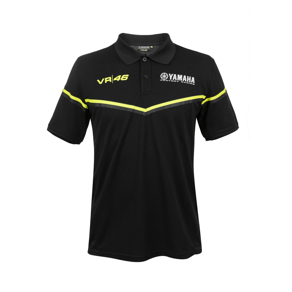 Moto GP Valentino Rossi Polo Shirt for Yamaha Dual M1 Racing Motorcycle Sports Black Polo