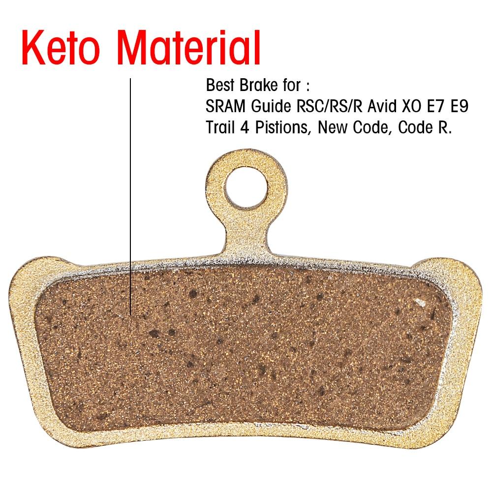 Full Metal Keto Bicycle Disc Brake Pads For SRAM Guide RSC/RS/R Avid XO E7 E9 Trail 4 Pistions MTB Resin Hydraulic Brake Pad