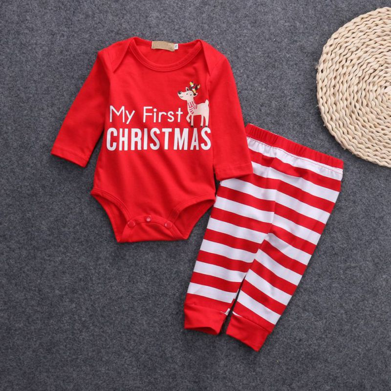 Christmas New Baby Boy Girl Clothes Babies Letter Bodysuit Onesie+ Stripe Deer Pants fashionable Outfit