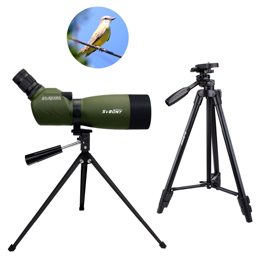 SVBONY Spotting Scope 20-60x60 BAK4 Zoom 45 De Angled Spotting Scope Birdwatching Monocular Telescope w/2 Types Tripod F9310 outdoor 20 60x60 zoom monocular telescope spotting scope optical lens with tripod carrying bag for birdwatching hunting dp006