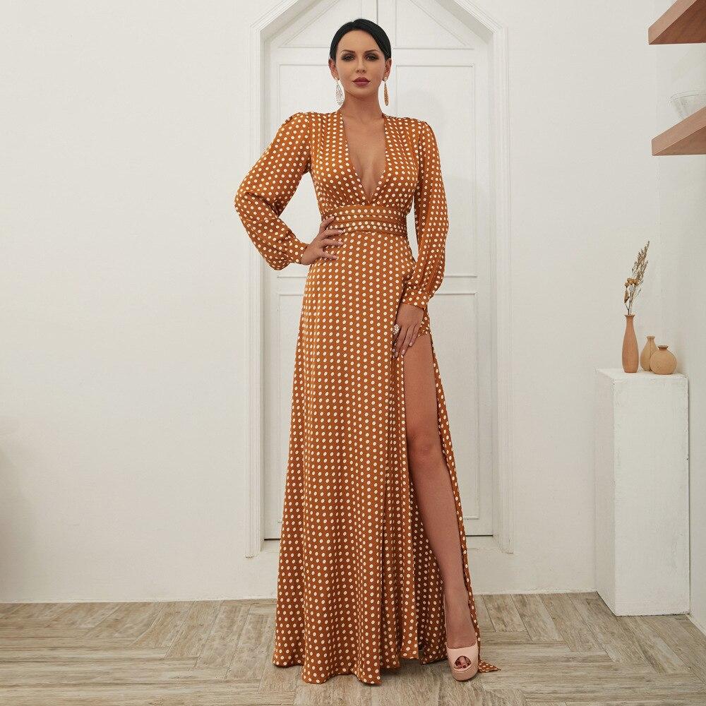 Mode célébrité longue robe haute fente boîte de nuit bas sein Vintage automne femmes élégantes robes de soirée