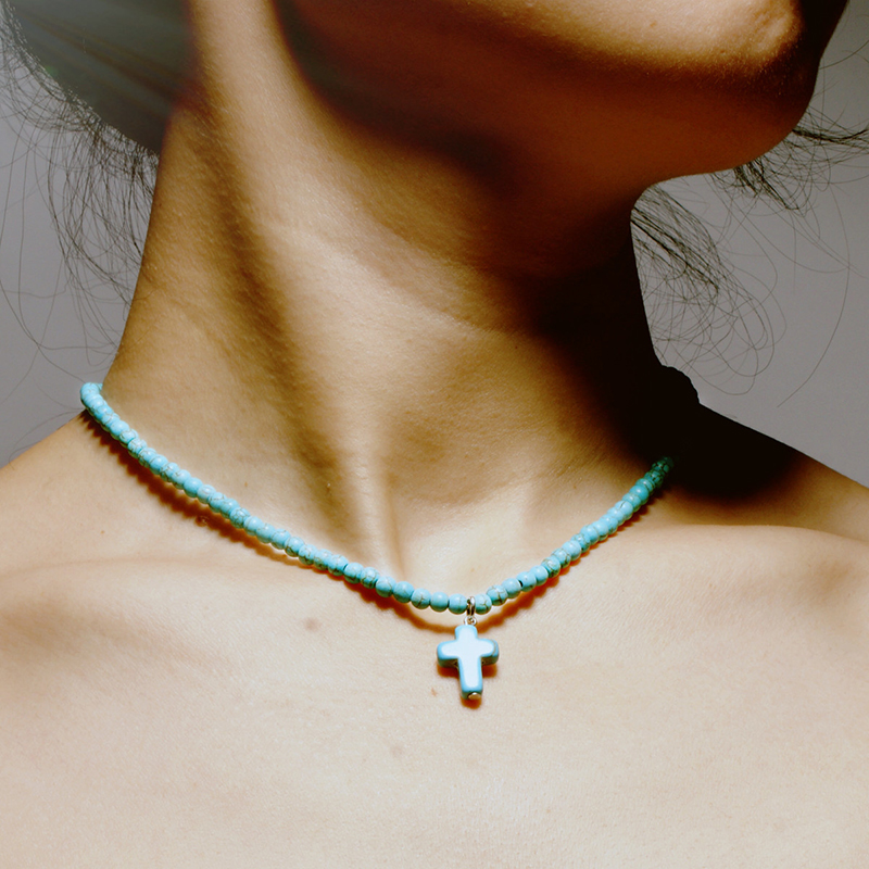 New Arrival Natural Turquoises Stone Chokers Necklaces For Women Charm Light Blue&White Pendant Necklace Prayer Cross Necklace