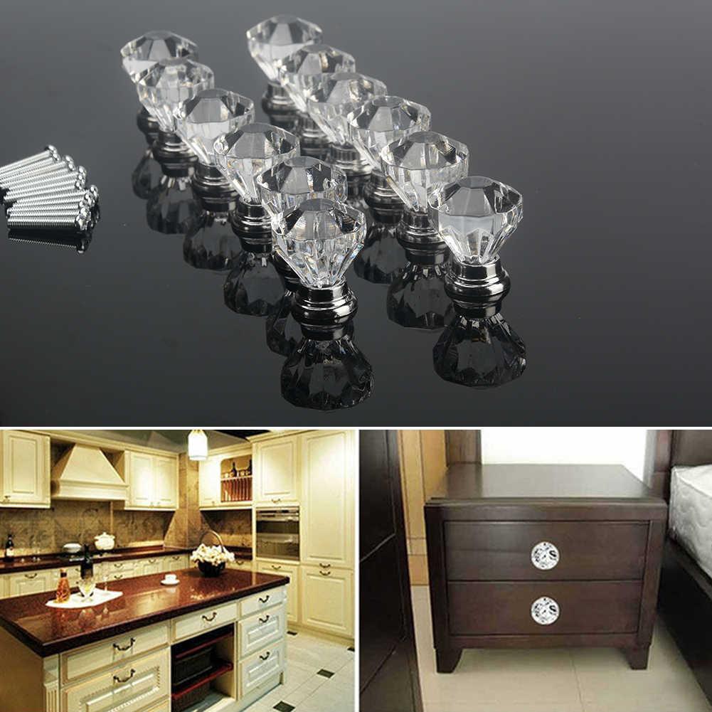 12 adet şeffaf akrilik 30mm elmas şekli topuzu dolap çekmece çekme kolu kolları yepyeni kolları ve Kandles mobilya için çekmeceli