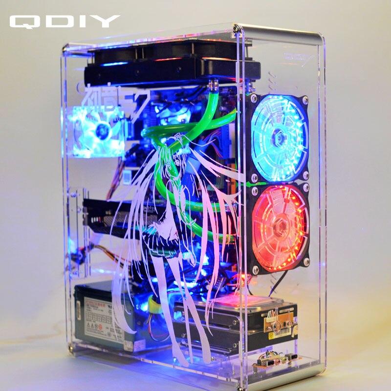 QDIY PC-A006SM MicroATX clair acrylique coque d'ordinateur PC boîtier refroidi à l'eau jeu joueur acrylique coque d'ordinateur