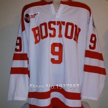 209a5664a Boston University  9 Jack Eichel White Red Hockey Jersey Embroidery Stitched  Customize any number and name College Jerseys