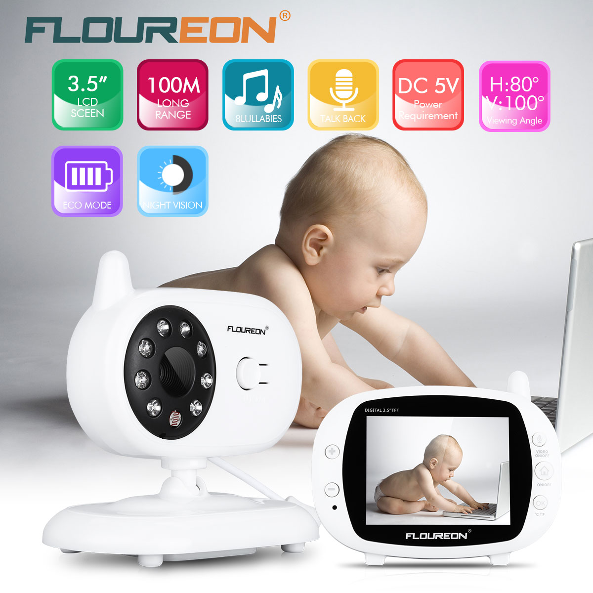 dfec7a46536f Surveillance Cameras Cheap Surveillance Cameras FLOUREON 3.5     Digital  Wireless Baby.We offer the best wholesale price