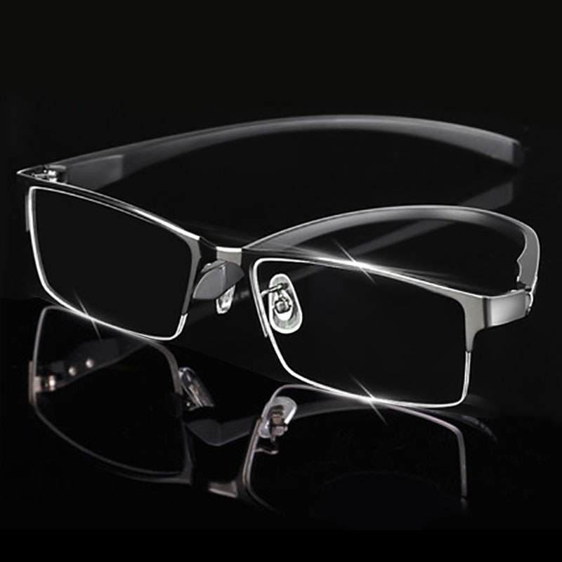 Man Alloy Occhiali da vista Frame for Men Eyewear Flexible Temples Gambe IP Galvanotecnica Materiale in lega, Full Rim e Half Rim