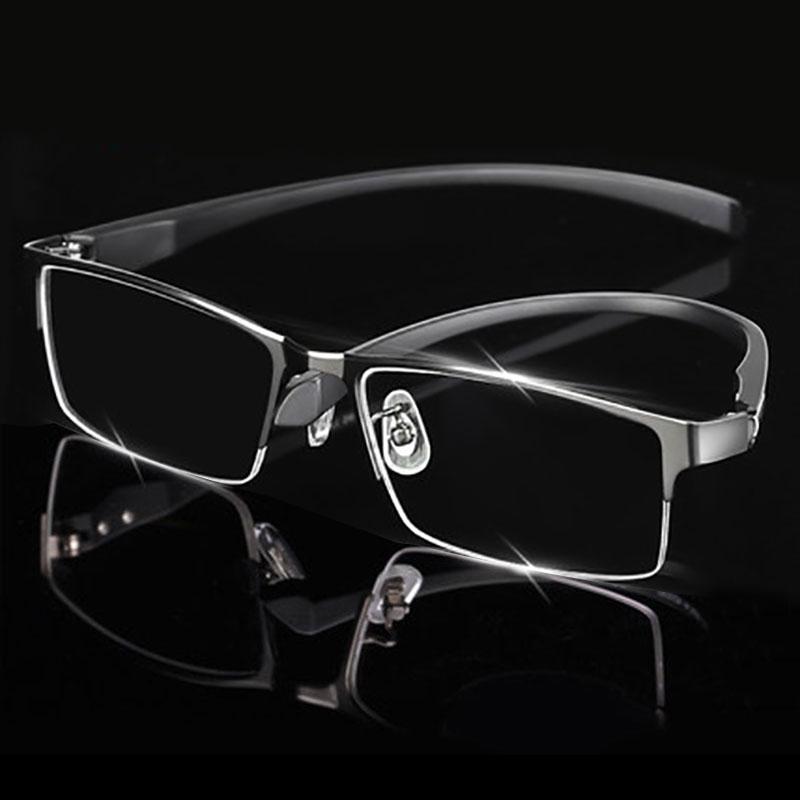 Marco de anteojos de aleación de hombre para hombres Gafas de templos Patillas IP Galvanoplastia Material de aleación, borde completo y borde medio