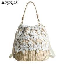 bf1444de412e Girls Straw Woven Shoulder Crossbody Handbag Bucket Drawstring Lace Beach  Messenger Bag Summer Hot Sale Women
