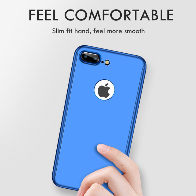 ZNP 360 Full Cover Phone Case For iPhone 8 Plus 7 Plus Protective Case For iPhone 6 Plus 6s 7 8 Case With Tempered Glass Coque