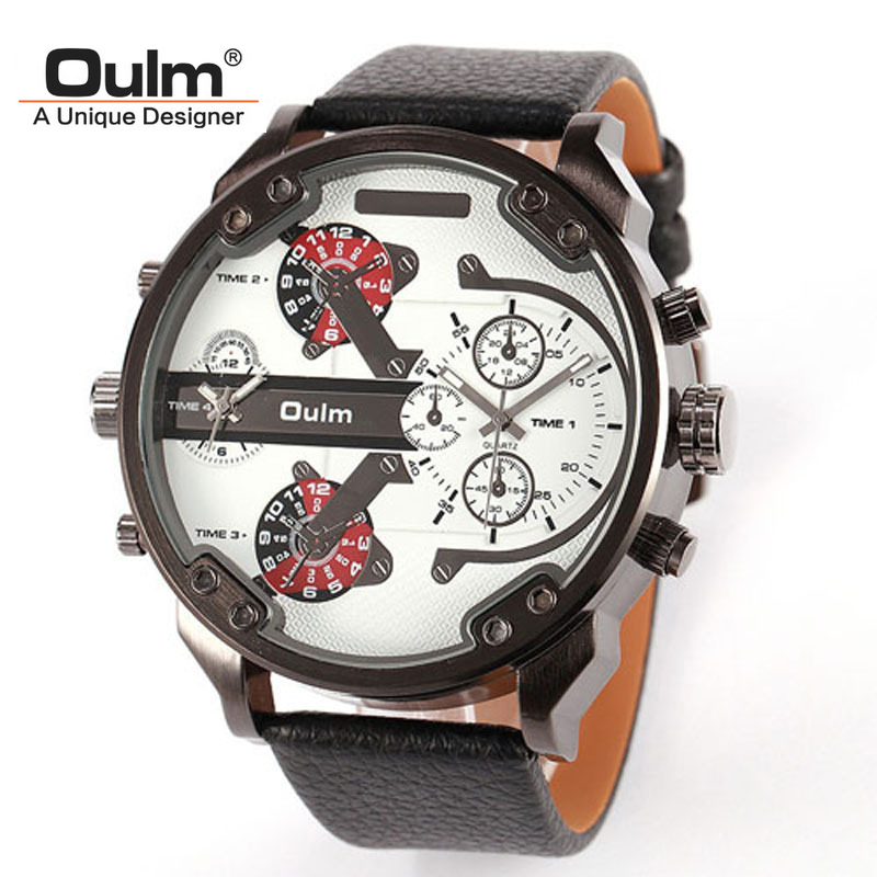 2 Time Zone Army Military OULM Watch for Men Leather Strap Quartz Japan Movt Quartz Sports Wristwatch