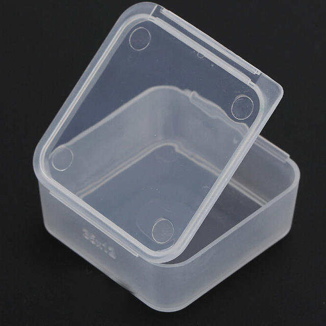3.5*3.5*1.2CM 5Pcs Mini Square Plastic Transparent Collection Container  Case Clear Storage