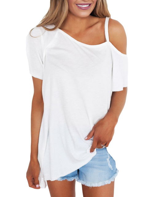 5df28e51c4e8 Women Cold Shoulder T-Shirt Cut Out One Shoulder Short Sleeve Summer T Shirt  Loose Solid Casual Tops Sexy Tee Shirt Femme 2019