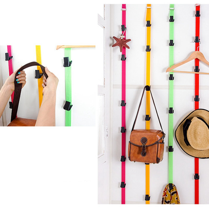 Space Saving Magic Clothes Hanger With Hook Adjustable Over Door Straps 8 Hooks Hat Bag Coat Rack Organizer
