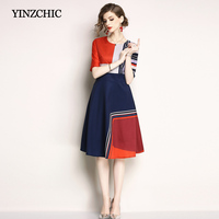 New Summer Printed Mid Dress Half Sleeve Womans A Line Dresses O Neck Female Party Work Dresses Women Early Autumn Casual Dress