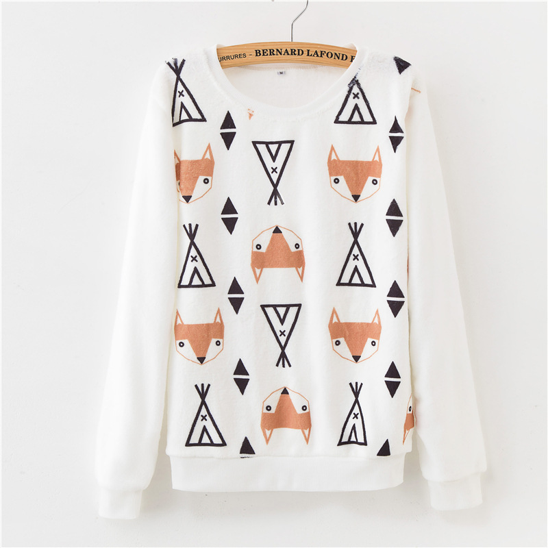 19 winter base warmth Harajuku floral print flannel pullover loose women's sweater ladies 12