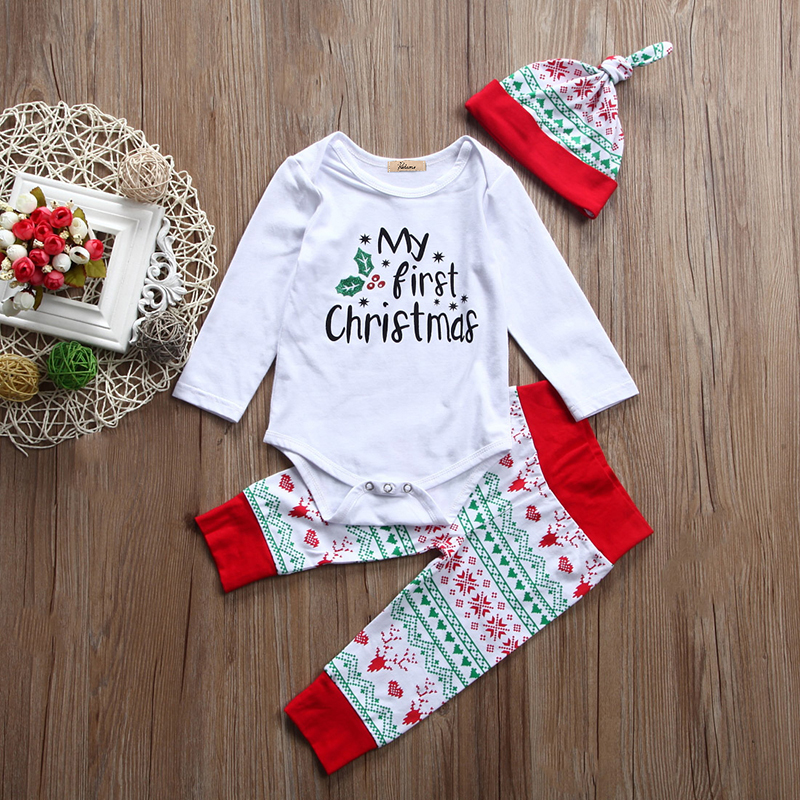 d103b121d 3PCS Set My First Christmas Newborn Baby Boy Girl Clothes Long Sleeve  Cotton Romper Tops+Long Pant Hat Outfits Kids Clothing Set-in Clothing Sets  from ...