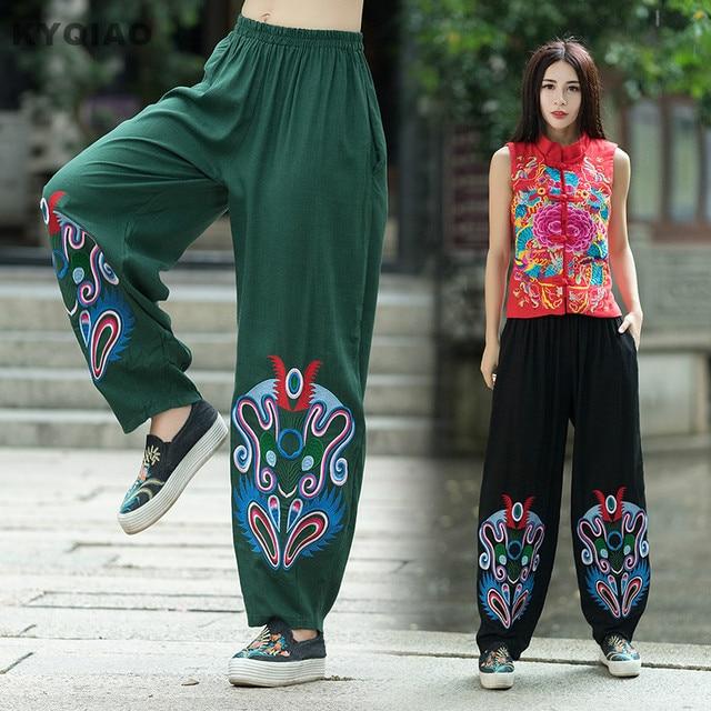 KYQIAO Traditionnels Chinois vêtements 2018 femmes Mexique style original  designer long vert noir broderie large jambe