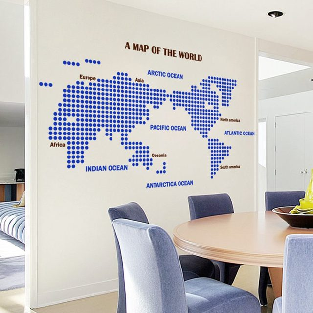 World Map Wall Stickers Large New Design Dot Circle Art Pattern Map Wall  Decal Vinyl Decals