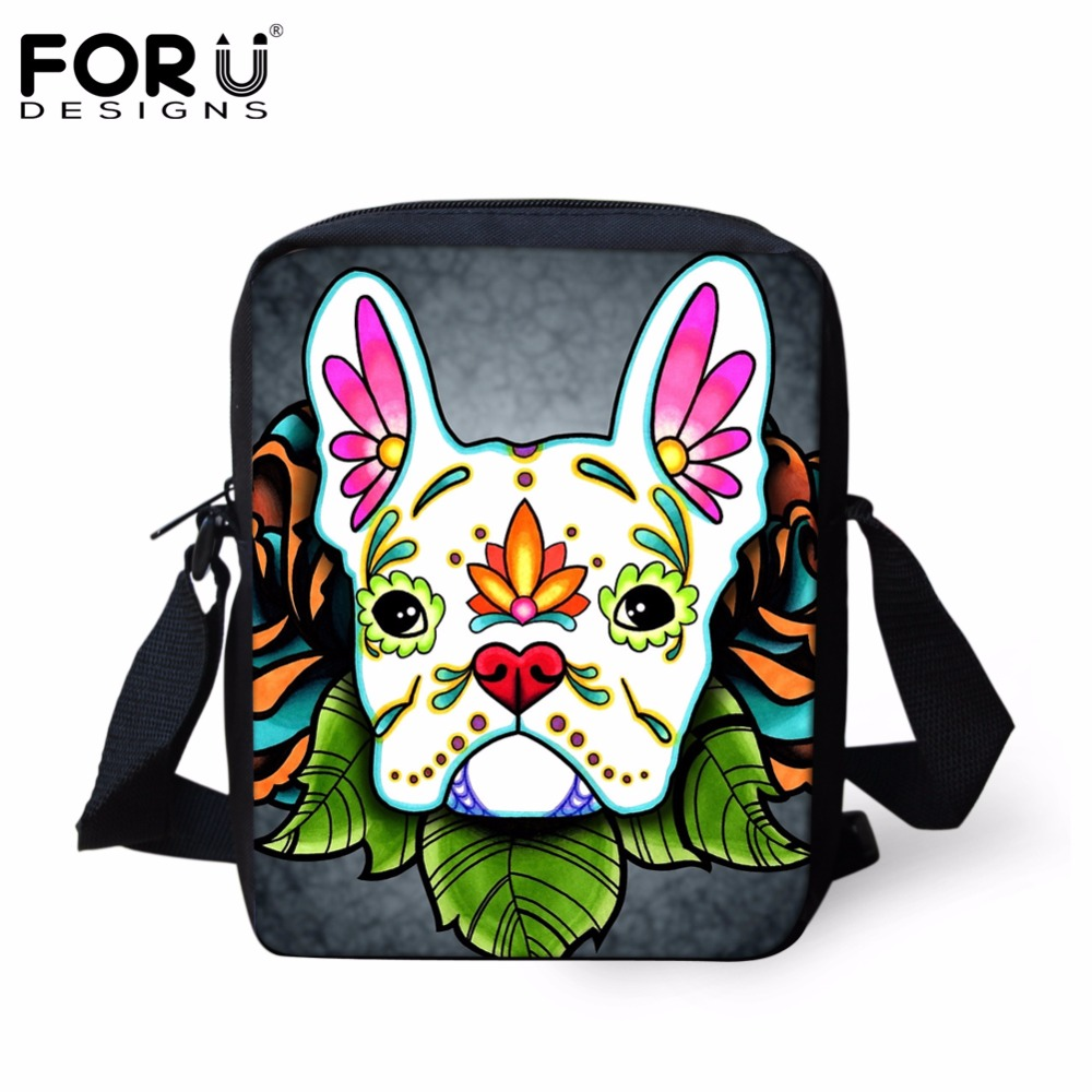 FORUDESIGNS Day of the Dead French Bulldog Women Casual Cross Body Bags Fashion Female Small Handbags Satchel for Ladies Bolsas forudesigns candy color small handle bag woman casual handbag for girls luxury woman s leather handbags ladies cross body bolsas