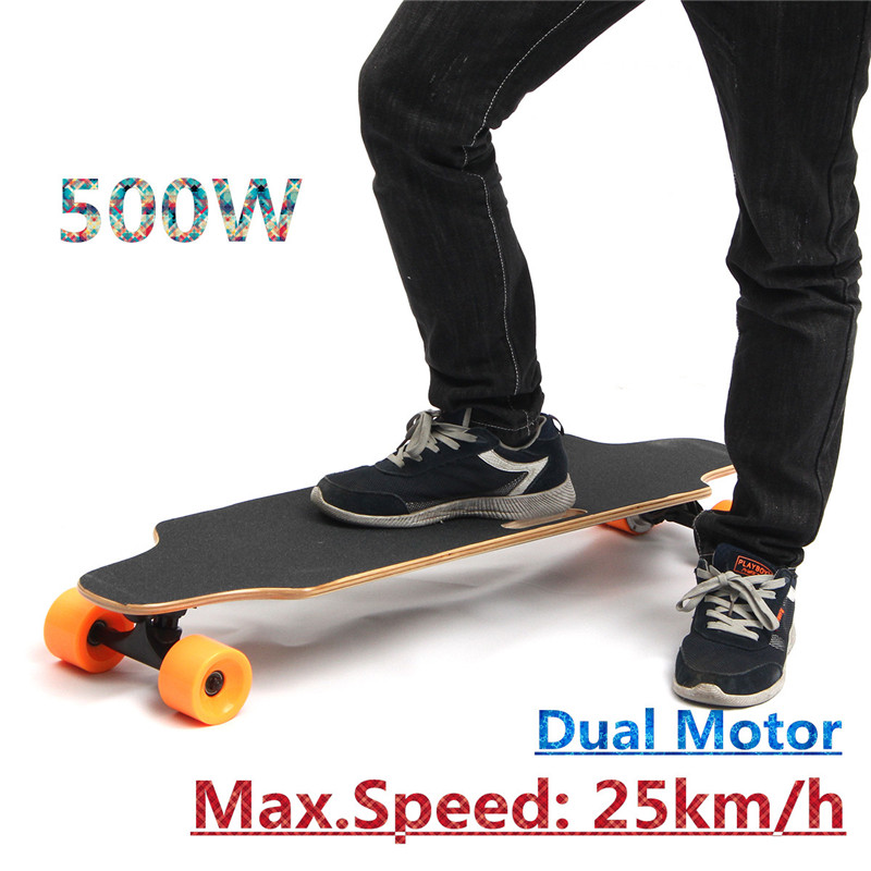 500W 25km/h Dual Motor Electric Skateboard Board Wireless Skate With Remote Control Longboard Hoverboard For Kids Adults koston longboard skateboard scooter black skate helmet