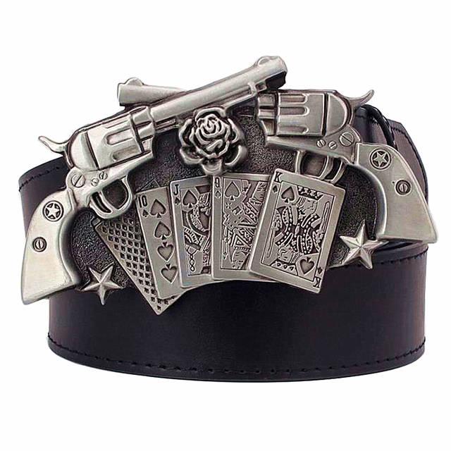 Personality Gun Rose buckle belt punk rock style men s Leather belt Wild western  style Hip- 1da5e96daab