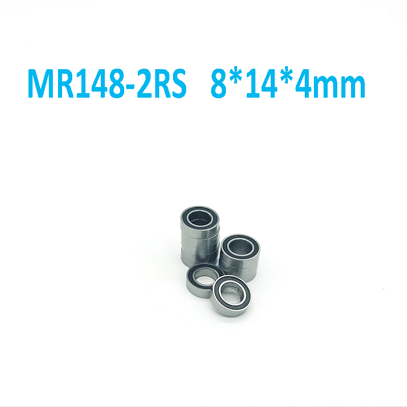 Free Shipping High quality 10PCS MR148-2RS ABEC-5 8*14*4 mm Miniature Ball Bearings MR148RS L1480 1pcs 71901 71901cd p4 7901 12x24x6 mochu thin walled miniature angular contact bearings speed spindle bearings cnc abec 7