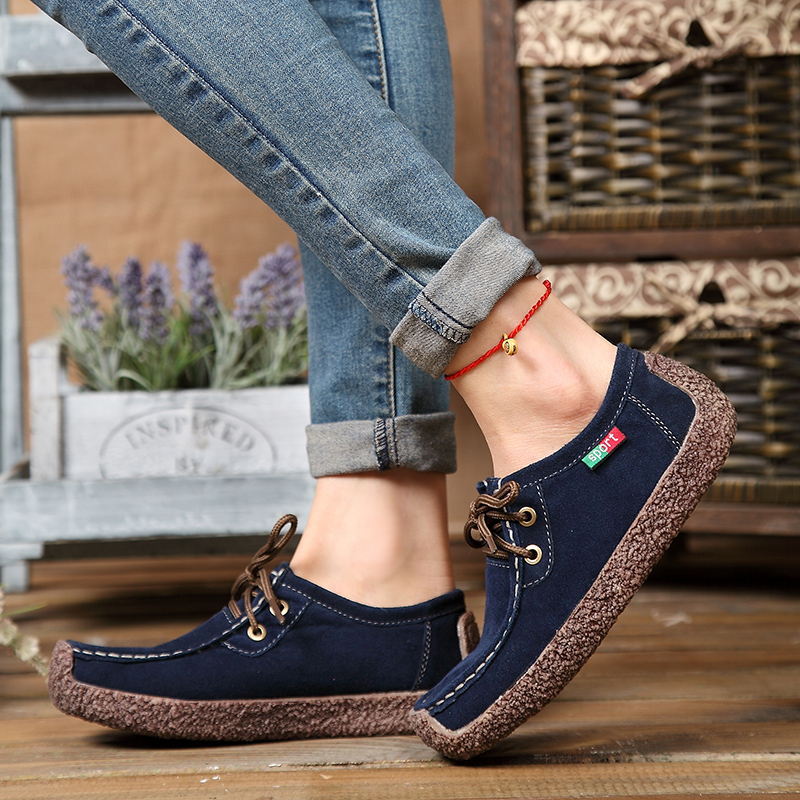 Lucyever Spring Autumn Women Casual Shoes Woman Classic Genuine   Leather   Lace Up Shoes British Style   Suede   Ladies Flats Shoes