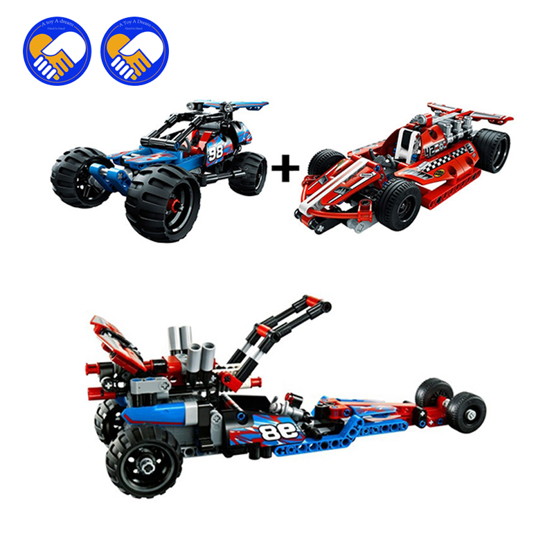 (A Toy A dream)Decool 3411-3414 High Technic 2 in 1 warrior off-roader racer Car Model 3D building block sets sports car toys