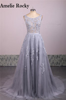 Real Photo Silver Applique Lace Long Modest Dresses Evening Gown Backless Evening Dress 2017 Vestido