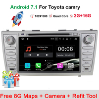 1024*600 Auto Car DVD Player for Toyota Camry 2007-2010 GPS Android 7.1.1 Quad Core 8 Inch Silver Color 2 Din 2017 New Sales